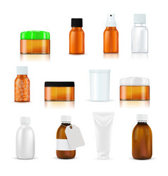 medical and beauty product bottles and containers vector image