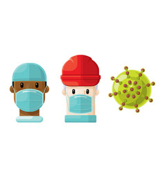 medical professionals and a virus icon set 5 vector image