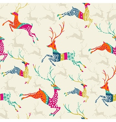 Merry Christmas reindeer seamless pattern file vector
