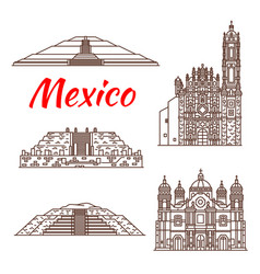 Mexican travel landmark icon of pyramid and church vector