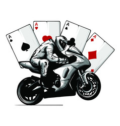 Motorcycle with playing cards poker vector