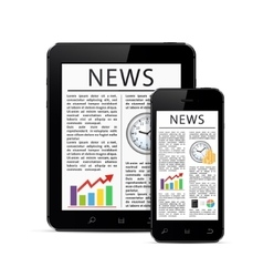 News articles on digital devices vector image