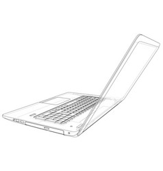 outline of laptop computer created vector image