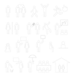 Outline sign of people life setbusinessman group vector