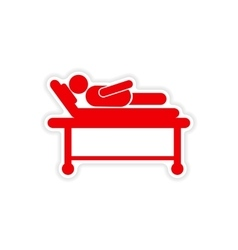 Paper sticker man in hospital bed on white vector