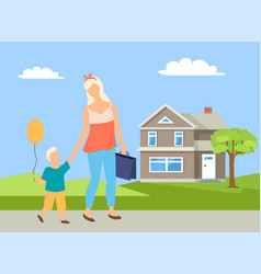 Parent and child going near house walking vector