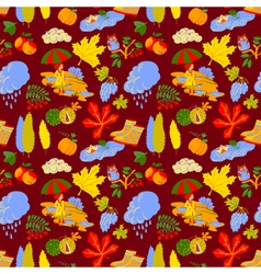 Pattern background with fall season nature objects vector