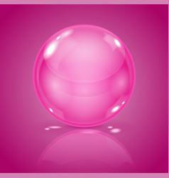 Pink glass ball 3d shiny shere on background vector