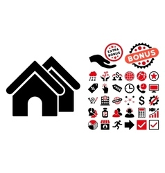 Real Estate Flat Icon with Bonus vector