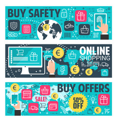 Secure online shopping banner e-commerce design vector