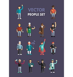 set flat design professional people characters vector image