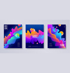 Set of abstract multicolored cover design vector