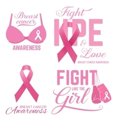 Set of Breast cancer awareness pink card vector