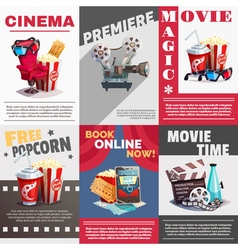 Set Of Cinema Posters With Premiere Advertising vector image