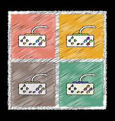 Set of flat shading style icons playing joystick vector