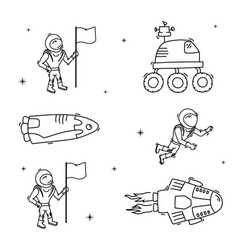 set of of space objects vector image
