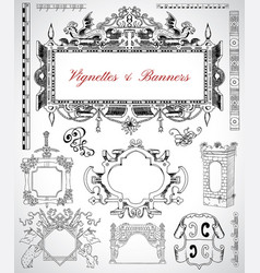 Set with vintage frames and borders vector