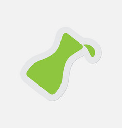 Simple green icon flask with a drop vector