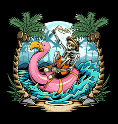 skulls on flamingos floats on beach during vector image