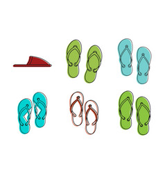 slippers icon set color outline style vector image
