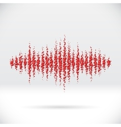 Sound waveform made of scattered balls vector
