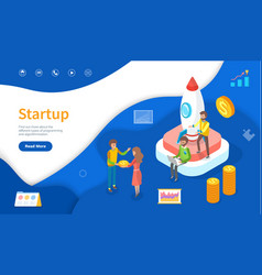 spaceship and developers startup online web page vector image