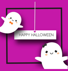 square halloween banner with cute ghosts in kawaii vector image