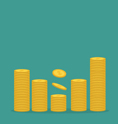 stacks gold coin icon diagram shape dollar vector image