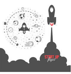 Startup project concept flat design missile and vector