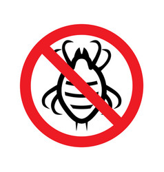 Stop dust mite sign prohibitory symbol template vector