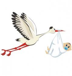 stork delivering a boy vector image