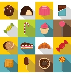 Sweets and candies icons set flat style vector