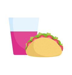 taco with drink food tradition mexico icon vector image