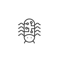 Thin line computer bug icon vector