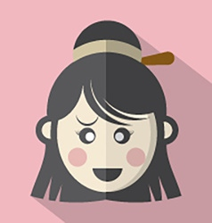 Traditional Chinese Womans Face Icon vector image