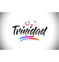 Trinidad welcome to word text with love hearts vector
