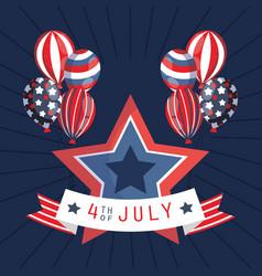 Usa balloons star and 4th july ribbon vector