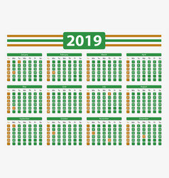 usa calendar 2019 with official holidays 5x7 in vector image