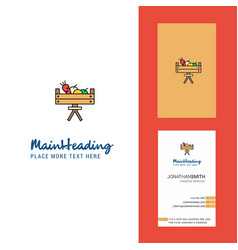 Vegetable basket creative logo and business card vector