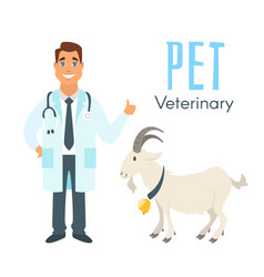 veterinarian doctor with goat vector image