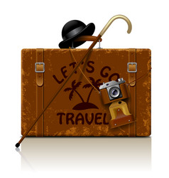 vintage brown threadbare suitcase with walking vector image