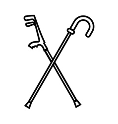 Walking cane icon outline style vector