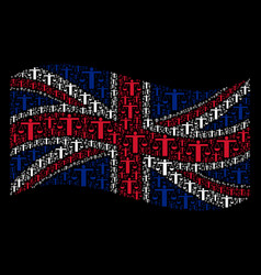 waving british flag pattern of weight comparing vector image