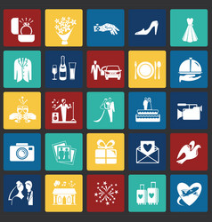 wedding icons set on color squares background for vector image