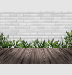 White brick wall and wooden floor vector