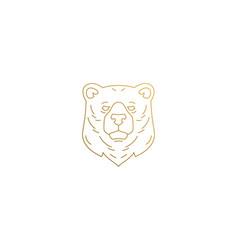 Wild bear head silhouette linear vector