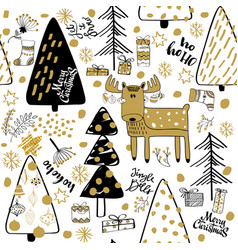 Winter christmas forest creative background vector
