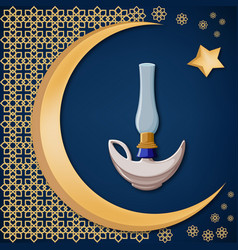 with golden moon star and oriental ornament vector image