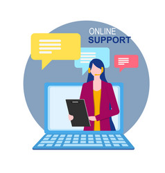 woman assistant on notebook display online support vector image