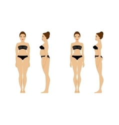 Woman before and after fitness vector